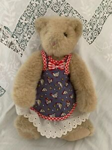"""Vintage Vermont Teddy Bear 13"""" Tan With Original Clothes Reticulated"""