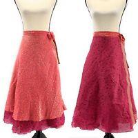 Ethnix Womens Reversible Midi Wrap Skirt Pink One Size Silk Festival Floral