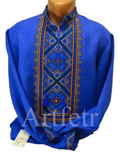 Ukrainian Embroidered Shirt for men Cross stitch Fabric linen flax Size 2XS-3XL
