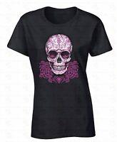 Pink Roses Sugar Skull WOMEN T-SHIRT Dia De Los Muertos Day Of Dead Ladies Shirt