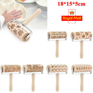 3D Embossing Rolling Pin Wooden Dough Roller Engraved Cookies Pastry Baking Tool