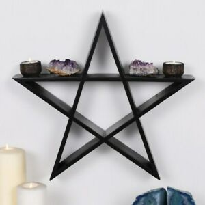 Pentagram Wall Art Display Hanging Shelf Altar Piece Wiccan Pagan 40cm