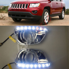 For JEEP Compass 2011-2016 Fog/Driving Daytime Running Light DRL W/ Chrome Trim