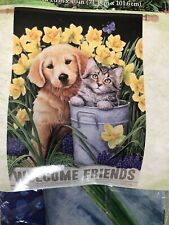 Welcome Outdoor Yard Flags Decoration Dog & Cat 28� X 40�