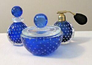 Murano Bullicante Seguso 3 Pc Blue Vanity Powder Perfume Cologne Atomizer 1960's