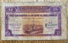 Lebanon 25 Piastres Banknote, 1942, Used condition