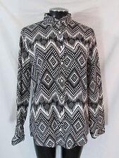 J Crew Boy Shirt Womens 10 Black White Diamond Ikat Button Front Shirt Linen Top