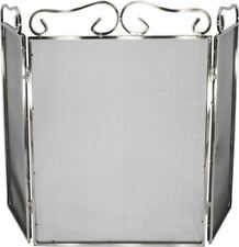 Ornate Polished Stainless Steel Three Fold Fire Guard or Fire Screen