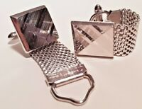 Vintage SWANK Signed Silver Tone Textured Wrap Around Mesh Cuff links Square