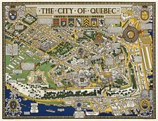 Pictorial Birds-Eye View Map City of Quebec with Historical Notes Poster Print