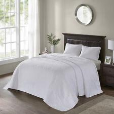 Beautiful Xxxl Vintage Modern White Textured Stitching Soft Quilt Bedspread Set