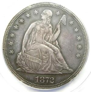 1872 Seated Liberty Silver Dollar $1 - ANACS AU55 Details - Rare Early Coin!
