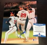 JOHN SMOLTZ SIGNED ATLANTA BRAVES WS 8X10 PHOTO BECKETT COA MULTI IMAGE WHITE