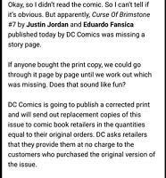 RECALLED ERROR MISPRINT PAGE MISSING Curse of Brimstone #7 Foil Cover