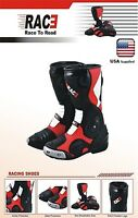NEW RAC3 MOTORCYCLE MOTORBIKE REAL LEATHER RACE SPORT ARMOR BOOTS BLUE RED WHITE