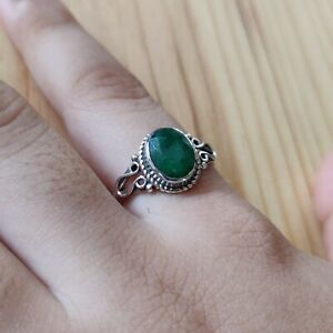 EMERALD CORUNDUM 925 STERLING SILVER HANDCRAFTED RING,2.85 GM SIZE 7.5