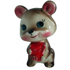 Cute Brown & Pink Bear Red Honey Pot Vintage Retro Pottery Ornament 1950s 1960s