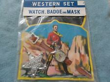 New Vintage 1950's or 1960's Western Set Toy Watch, Mask and Badge