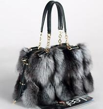 sexy womens real fur handbag mixed color luxury tote shoulder message bag B134