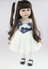 18Inch Long Hair Girl Lifelike Doll Alexand Girl Silicone Vinyl Reborn Baby