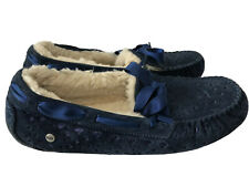 UGG Women Dakota Flora Perforated Wool Lined Suede Slipper Size 11