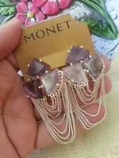 Monet Silver Plated Chain Swag & Three Triangle Amethyst Stones Pierced E'rings