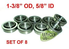 "LOT OF 8, FLANGED, SEALED BEARINGS 1-3/8"" OD x 5/8"" ID, WAGONS,GO KARTS, DOLLIES"