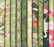 10 GREEN ASIAN ORIENTAL JAPANESE FAT QUARTER QUILT FABRIC: 2 1/2 Yds