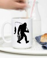 Fishing Bigfoot Funny Coffee Mug Fisherman Sasquatch Gift Mug Coffee Cup