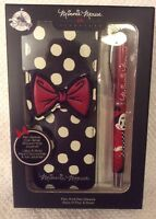 DISNEY STORE DESIGNER MINNIE MOUSE SIGNATURE POLKA DOT PEN With CASE Gift Boxed