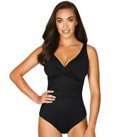 Sea Level Essentials 14 Swimsuit Cross Front One Piece Black Ruched Swim New