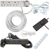 Netagon 1 2 4 6 Gang Way 13A UK Plug Extension Lead with Neon Indicator Fitted