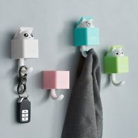 Cute Hidden Cat Wall Hanging Hook Clothes Hat Key Hanger Rack Free Punching