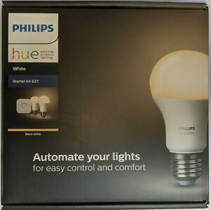 Philips Hue E27 Warm White LED Lighting Starter Kit (Hub 2x Bulb)(9290011370002)