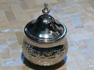 Oriental Moroccan Can Metal Silver Plated Sugar Tea Nuts Storage