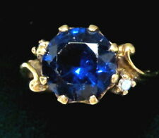 NICE VTG. 10K GOLD RING W/ DIAMONDS & ELECTRIC BLUE SYNTHETIC STONE SIZE 7 1/4