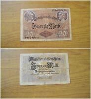BANCONOTA GERMANIA REICHSBANKNOTE DARLEHENSKAFFENFCHEIN 20 MARK 1914 SUBALPINA