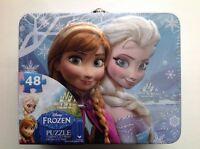 Tin Metal Lunch Snack Box + 48 pc Puzzle Disney Frozen Anna Elsa NEW