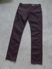 JEANS by JACK WILLS, Size 29 (App. 10), COATED/WAXY Trousers, AUBERGINE,Designer