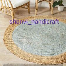 Indian Round Braided Floor Rug Jute Floor Mat Handmade Reversible Rug Multi