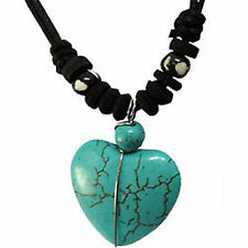 Turquoise Heart Pendant Chain Necklace Choker Womens Ladies Girls Kids Jewellery
