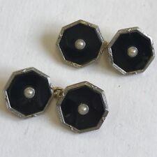 Vintage 18ct Solid Gold & Platinum Pair Of Cufflinks Black Enamel & Pearl