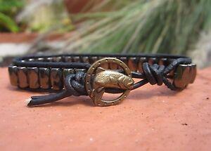 Handcrafted Mens Pyrite Hematite Magnetic Black Leather Bracelet Trout Button