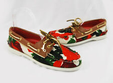 Milly For Top-Sider NWOB Red Tan Multi Floral Canvas Leather Boat Shoe Flat Sz 8