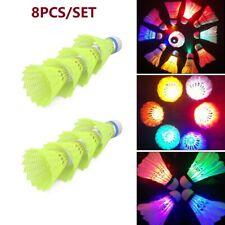 8Pcs Dark Night Colorful LED Lighting Glowing Sport Badminton Shuttlecock Sports