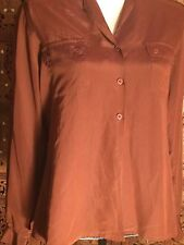 Matthew Lombard Women's Vintage 100% Silk Button Down Long Sleeve Shirt Sz 9/10