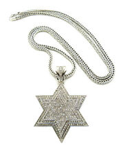"""ICED OUT STAR OF DAVID PENDANT & 36"""" FRANCO CHAIN"""