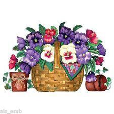 Pansy Flower Basket HEAT PRESS TRANSFER for T Shirt Sweatshirt Tote Fabric #796b