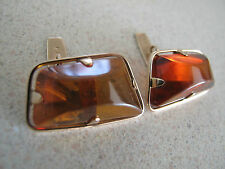 Russian Pink Rose Gold Large Amber Stone Cufflinks stamp 583 Янтарь Запонки