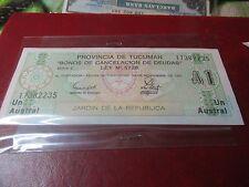 Argentina - 1991 Provincia de Tucuman Emergency Note